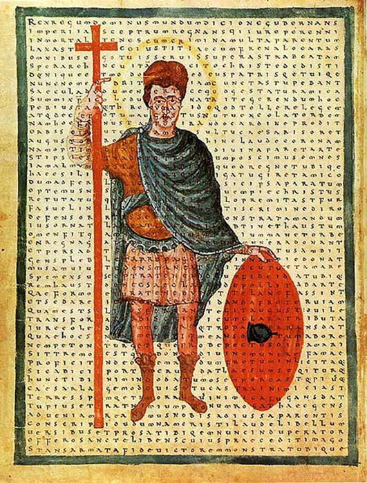 Louis the Pious, contemporary depiction from 826 as a soldier of Christ, with a poem of Rabanus Maurus overlaid. (Lestath / Public Domain)