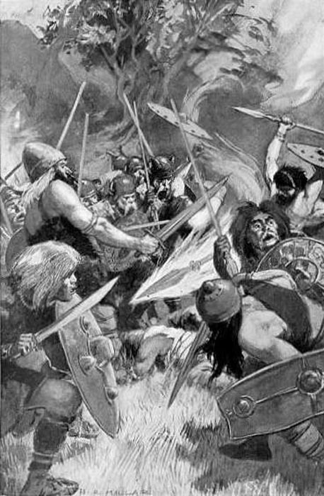 1905 illustration of Lugh's bloodthirsty magical spear by H. R. Millar.