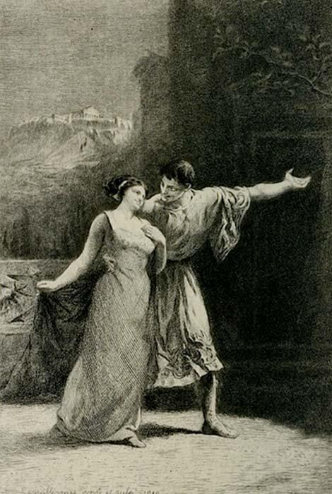 Lysistrata, original etching by Frédéric-Auguste Laguillermie, published in Almanach des spectacles, Paris, Jouaust/Librairie des bibliophiles - Flammarion succ. (Public Domain)