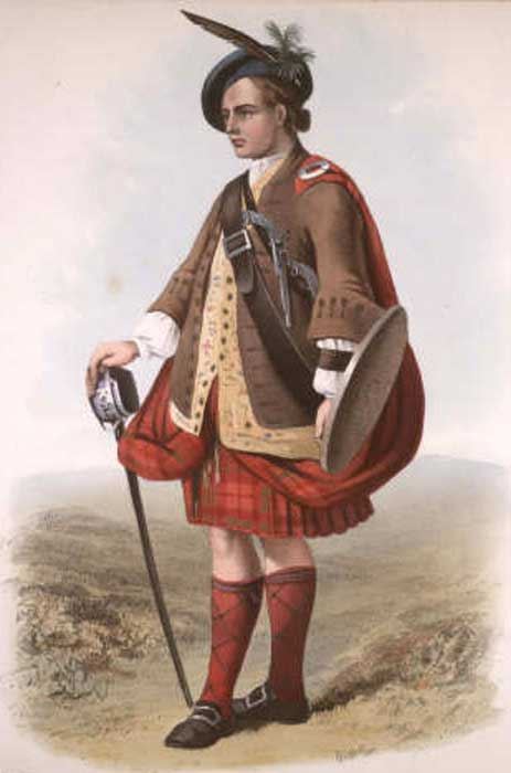 """MacNab"". A plate illustrated by R. R. McIan, from James Logan's The Clans of the Scottish Highlands, published in 1845."