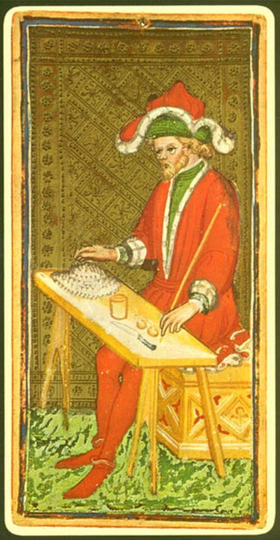 "The ""Magician"" card from a 15th-century tarot deck."