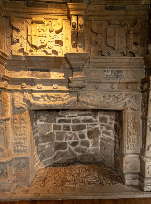 Magnificent fireplace bearing Brooke's coat of arms in 'The Great Room'. Credit: Ioannis Syrigos