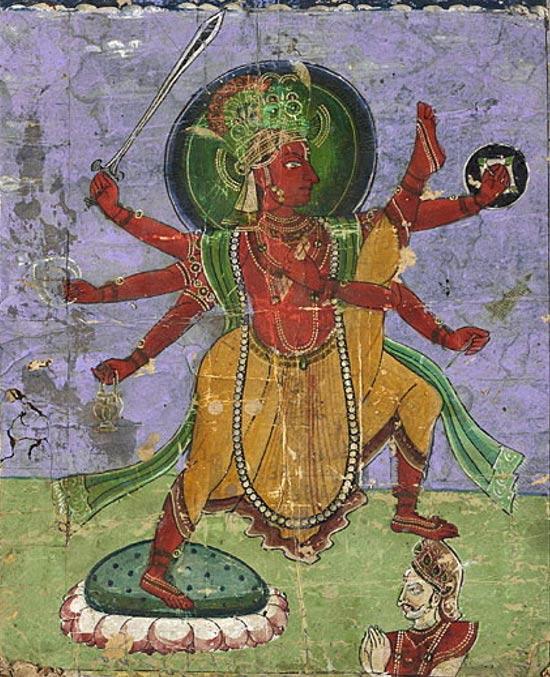 Mahabali sacrificing himself to Vamana.