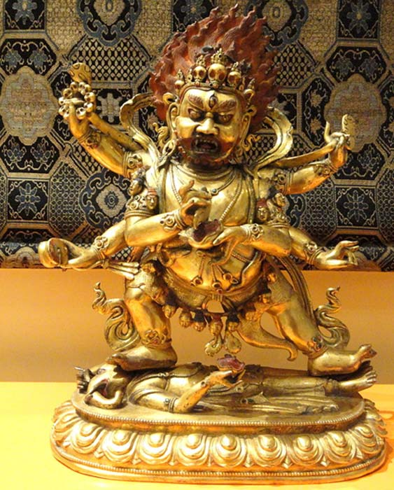 Mahakala, seen here in a statue from Tibet, is described variously as an aspect of the Bodhisattva of Infinite Compassion and of Shiva.
