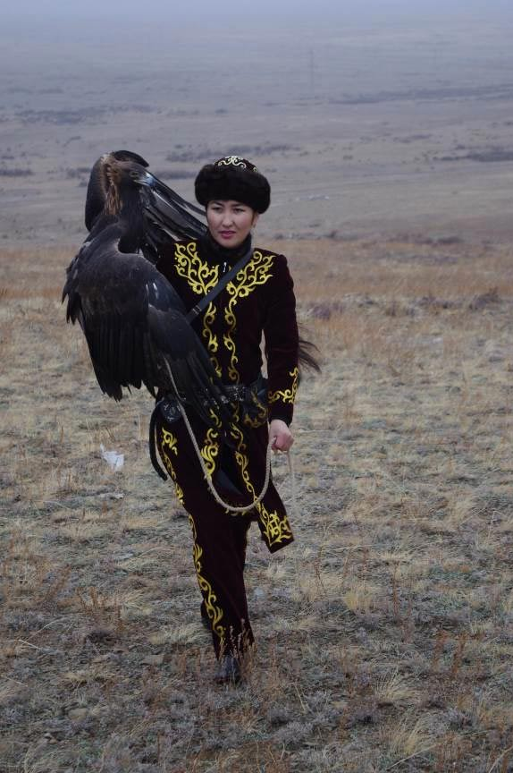 FIG 2.2. Makpal and her eagle, 2010, Kazakhstan.