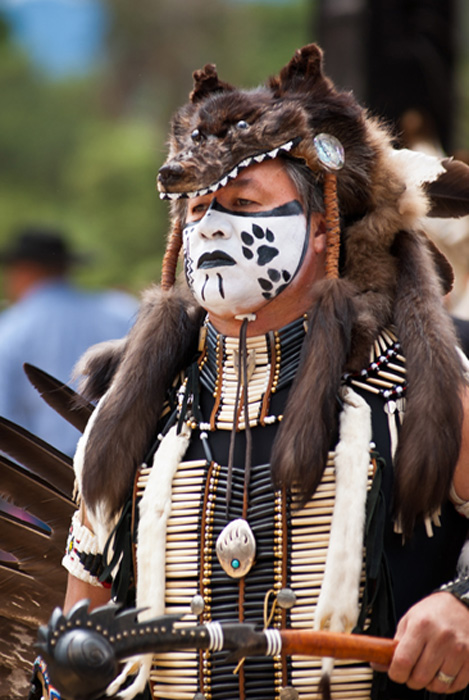 Man with wolf skin headdress