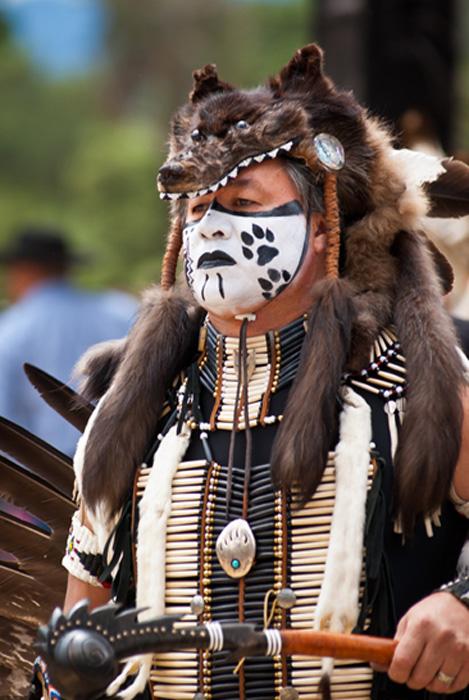 Man with wolf skin headdress