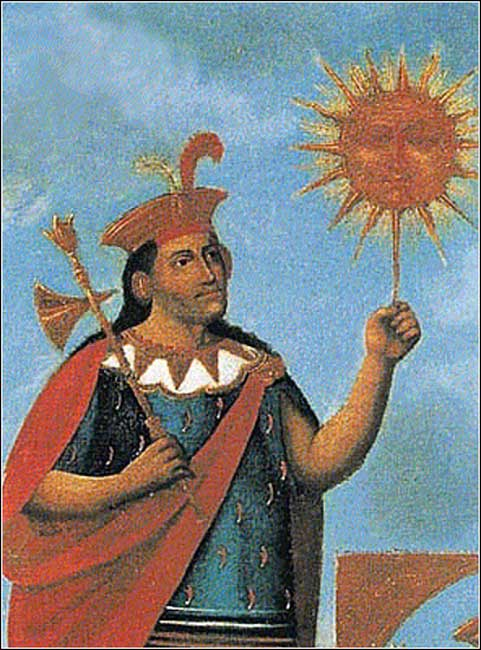 Colonial image of Manco Cápac and the Sun God, Inti.