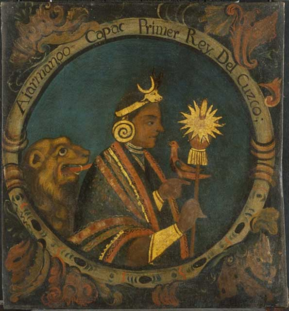 Manco Cápac holds a shining staff. First Inca, 1 of 14 Portraits of Inca Kings (Public Domain)