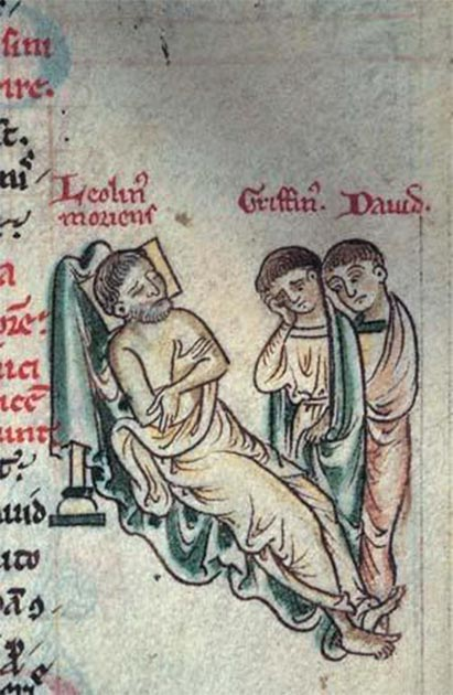 Manuscript drawing showing Llywelyn the Great with his sons, Gruffydd and Dafydd. (Lampman / Public domain)