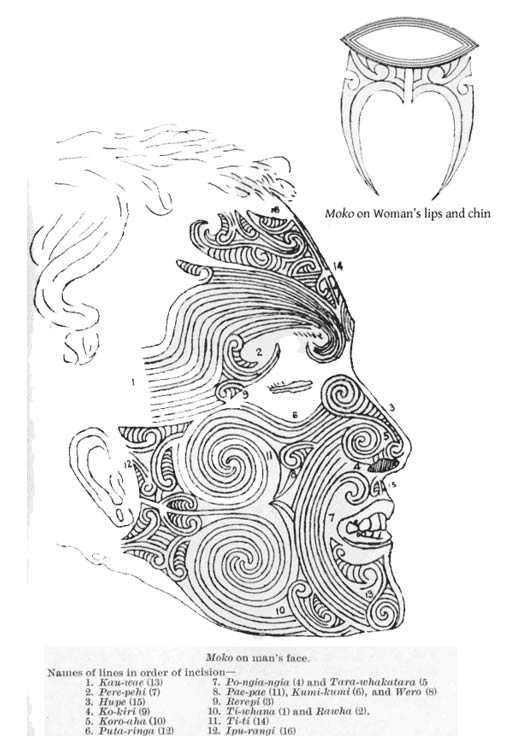 Maori Moko, scanned from John Rutherford: The White Chief (pre-1923)