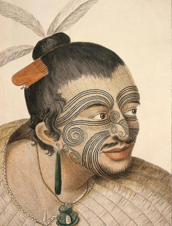 A portrait of a Maori chief by Sydney Parkinson, the artist on Captain Cook's 18th century voyages.