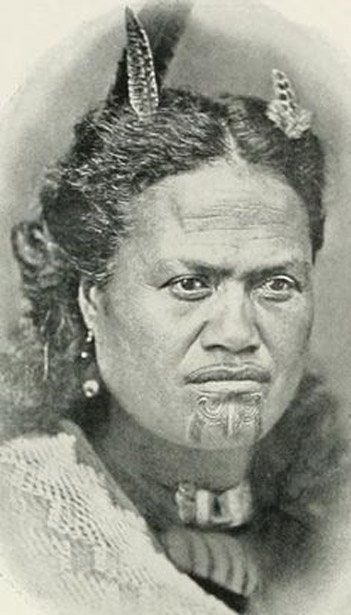 A Maori woman of high rank photographed circa 1908.