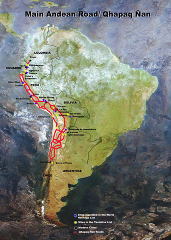 Map of the Qhapaq Nan Inca Trail