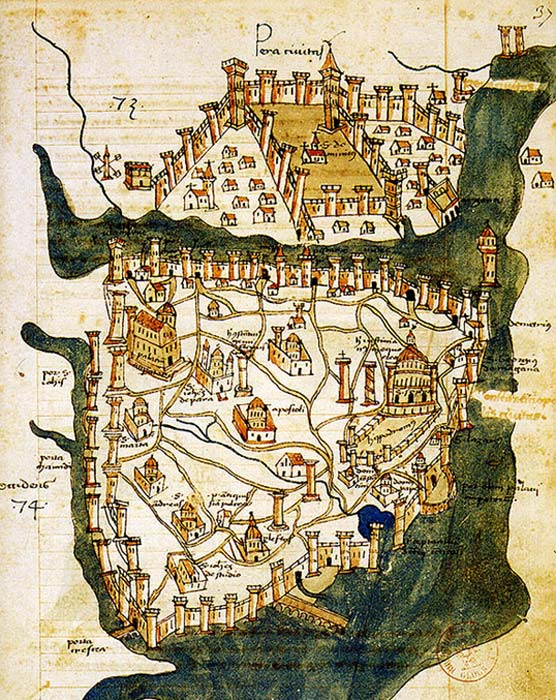 Map of Constantinople (1422) by Florentine cartographer Cristoforo Buondelmonti is the oldest surviving map of the city, and the only one that predates the Turkish conquest of the city in 1453