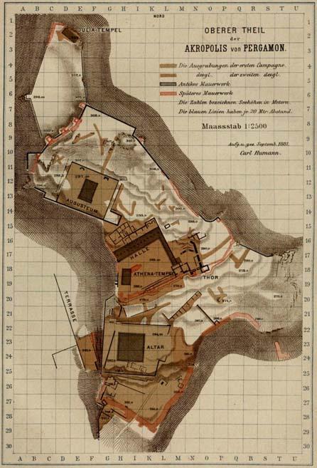 Map of Pergamon's Acropolis (1882), from Die Ergebnisse der Ausgrabung zu Pergamon 1880-1881, University of Heidelberg.