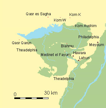 Map of archaeological sites in the Faiyum