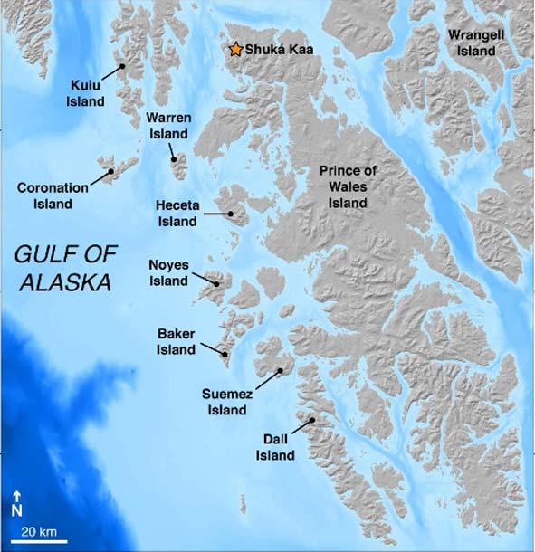 Map of southeastern Alaska with labeled islands. (Image: Alia J. Lesnek el al, Science Advances)