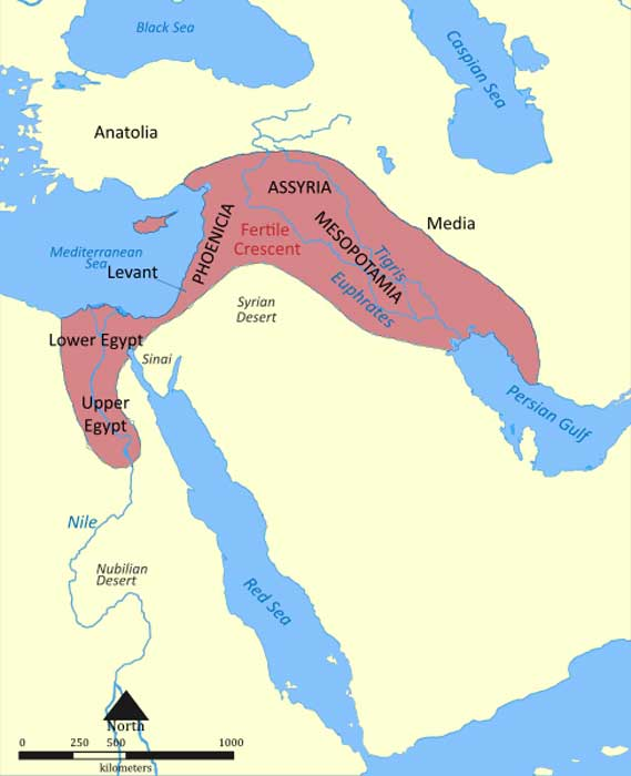 Map of the Fertile Crescent. (Nafsadh/CC BY SA 4.0)