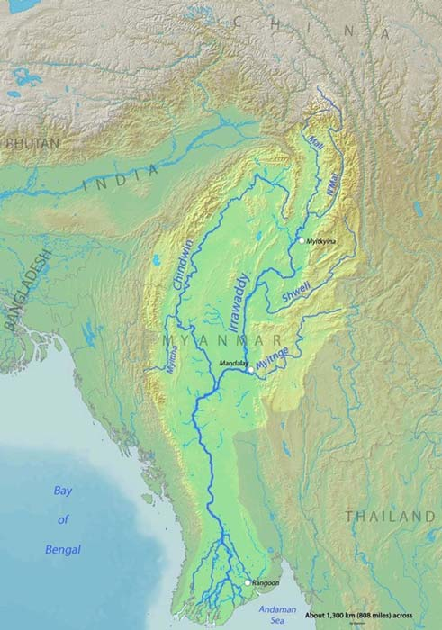 Map of the Irrawaddy River, which drains parts of Myanmar (Burma), Thailand and India into the Andaman Sea