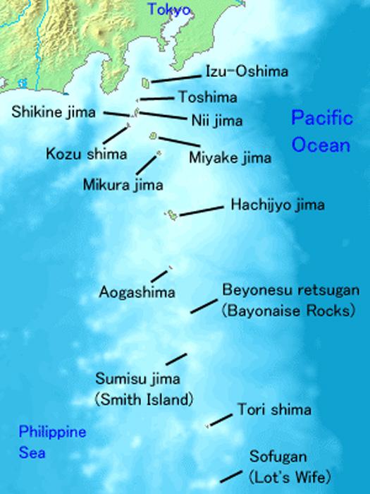 Map of the Izu Islands, centre of the Devil's Sea legend