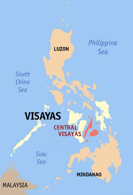 Map of the Philippines showing the location of Visayan Islands.