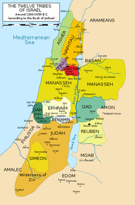 Map of the twelve tribes of Israel – the land was divided by a lottery. (Kordas / CC BY-SA 3.0)