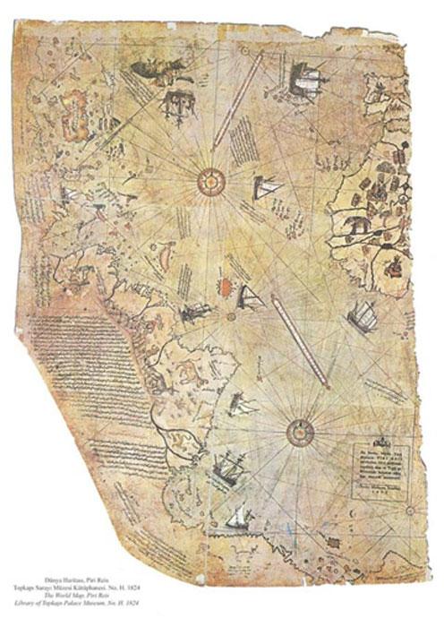 Map of the world by Ottoman admiral Piri Reis, drawn in 1513 but allegedly based on much older maps. (Public Domain)