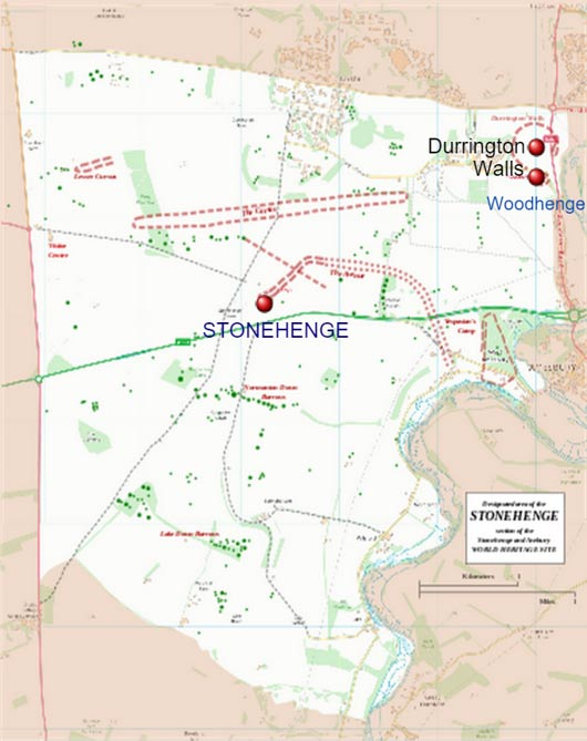 Map showing Durrington Walls and Stonehenge at the Avebury World Heritage Site.