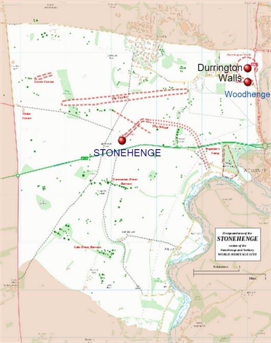 Map showing Durrington Walls and Stonehenge at the Avebury World Heritage Site.