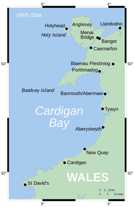 Map showing position of Cardigan Bay off Wales' west coast location of the sunken kingdom, Cantre'r Gwaelod. (Wereon / Public Domain)