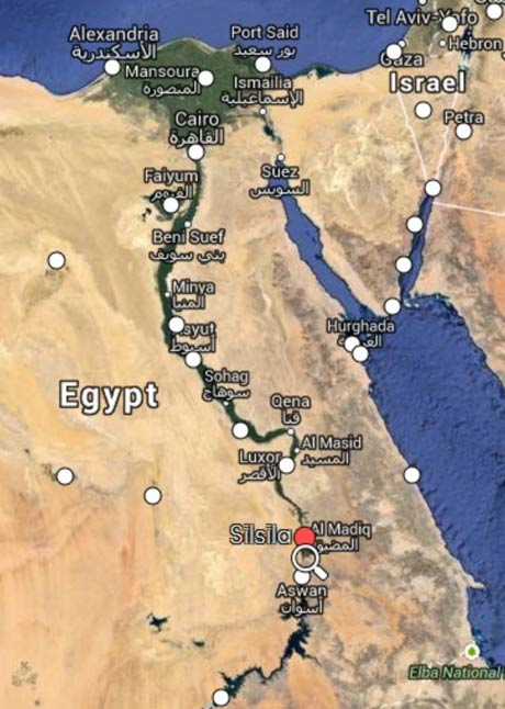 Mapcarta screenshot of Egypt and the River Nile showing Silsila, the red dot north of Aswan