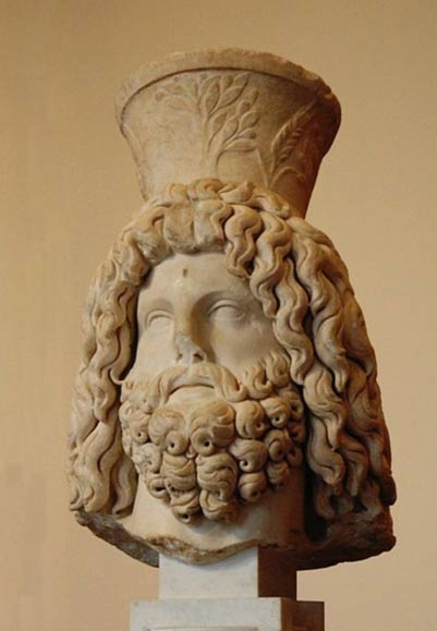 Marble bust of Serapis wearing a modius