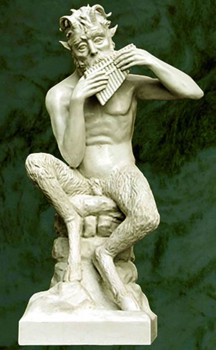 Marble statuette of Pan by Jose Manuel Felix Magdalena