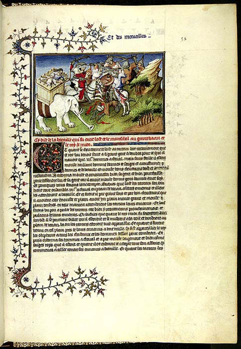 "Marco Polo, Il Milione, Chapter CXXIII and CXXIV, page from the Book ""The Travels of Marco Polo"" (""Il milione""), originally published during Polos lifetime 1298-1299, but frequently reprinted and translated. The army of the Khan attacking the rebellious King of Mien (now Burma). Note that Polo describes the King attacking the Khan with elephants, whereas the illustrator depicts the Khan attacking the King with elephants."