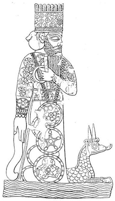Marduk and his dragon Mušḫuššu, from a Babylonian cylinder seal.