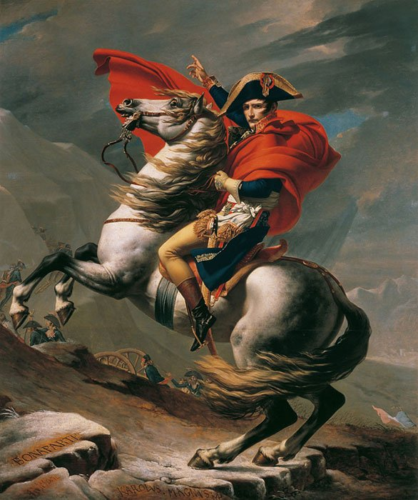 Napoleon Crossing the Alps painted by Jacques-Louis David. The horse in the painting is believed to be Marengo.