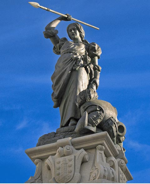 Statue of Maria Pita in the Maria Pita Plaza, La Coruña, Spain.