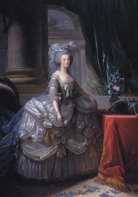 Marie Antoinette in a court dress of 1779. Her corset slims the waist to extremes, pushes her breasts up and out, and the panniers of her skirt extend dramatically, replicating wide hips and a big bottom. (Public Domain)