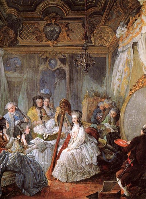 Marie Antoinette in her living room, Jean-Baptiste André Gautier-Dagoty 1774.