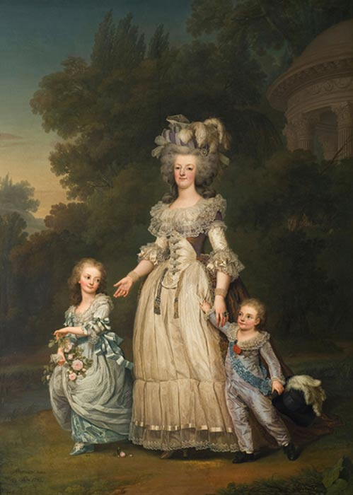 Marie Antoinette with her two eldest children, Marie-Thérèse Charlotte and the Dauphin Louis Joseph, in the Petit Trianon's gardens, by Adolf Ulrik Wertmüller (1785).