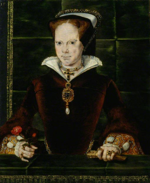 "Portrait of Mary I of England and Ireland by Hans Eworth. On her chest you can see the famous pearl ""La Peregrina"" on the necklace that Philip II gave her in 1554 on the occasion of their marriage."