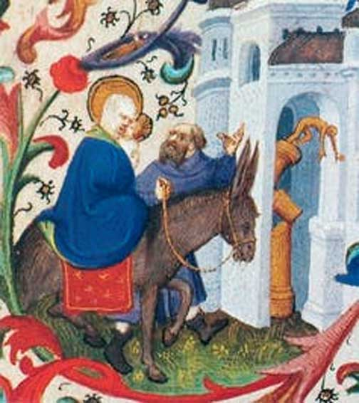 Mary arriving on a donkey. Toppling of the Pagan Idols (Flight into Egypt). Bedford Master