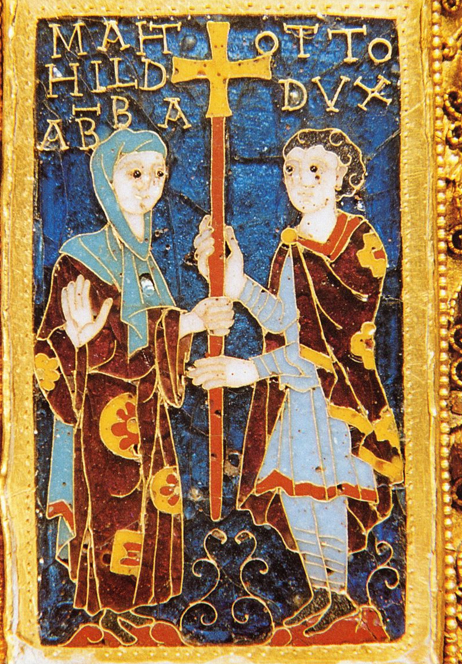 Mathilde and her brother Otto on the donor portrait of the Cross of Otto and Mathilde