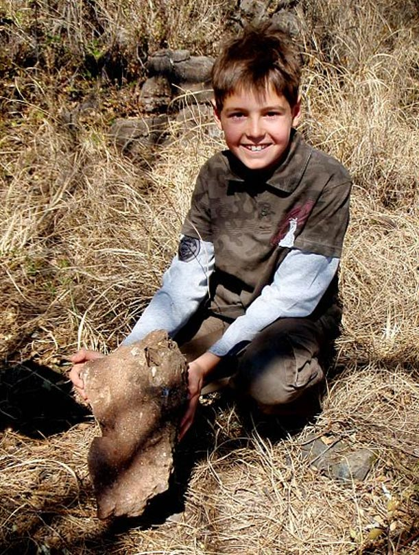 Matthew Berger moments after the discovery of the clavicle of Australopithecus sediba at the Malapa site.