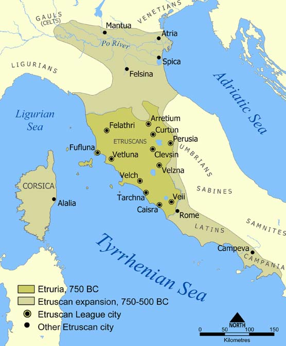 Maximum extent of the Etruscan civilization and the twelve Etruscan League cities.