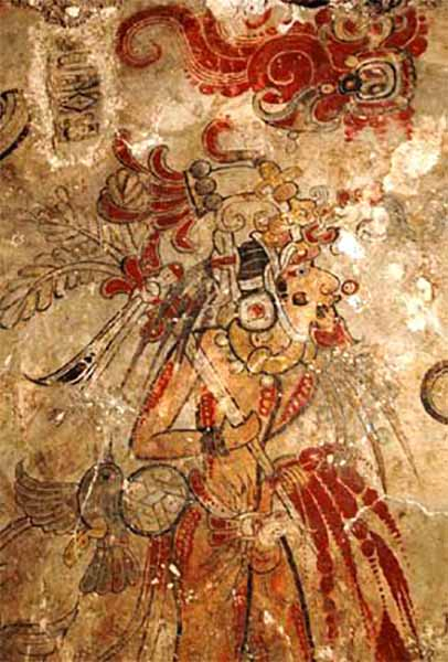 A Maya king impersonating the hero Hunahpu by piercing his penis with a spear to spill sacrificial blood, west mural fragment, San Bartolo. (Authenticmaya~commonswiki / CC BY-SA 3.0)