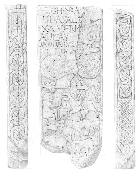 Measured drawing by John Borland of the designs on the stone. (HES)