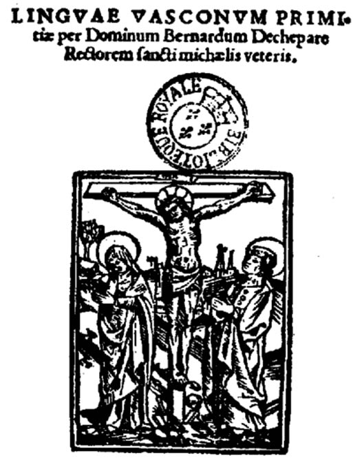 Title page of a Medieval Basque Language Book