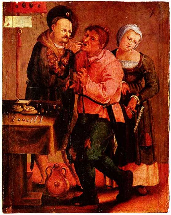 Medieval dentist removing tooth, probably 1616-7.